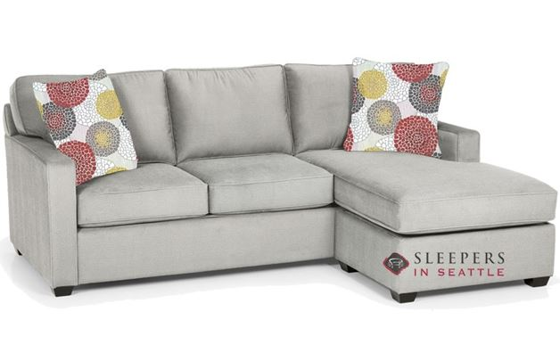 Stanton 403 Chaise Sectional Queen Sleeper Sofa in Luscious Platinum with Storage