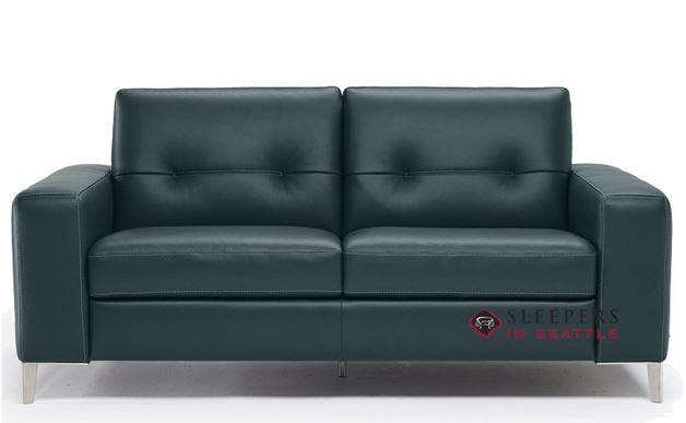 B883-264: Natuzzi Editions Po Leather Sleeper Sofa in Neptune Lagoon (Full)