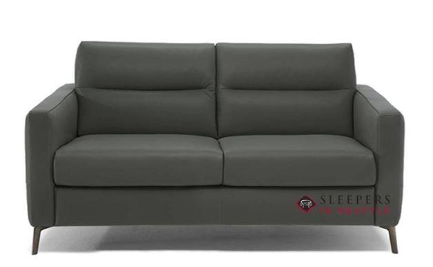 Natuzzi Editions Caffaro Leather Sleeper Sofa in Urban Charcoal (Full) (C008-264)