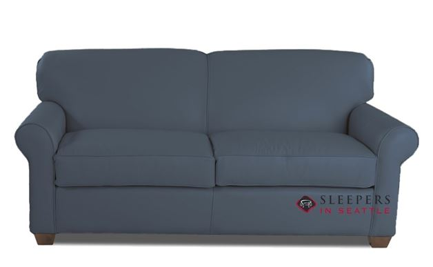 Savvy Calgary Leather Sleeper Sofa in Endura Pacific (Full)