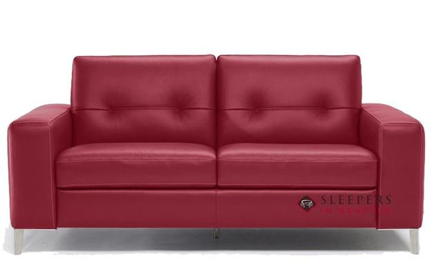 B883-264: Natuzzi Editions Po Leather Sleeper Sofa in Denver Red (Full)