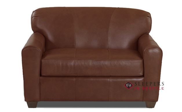 Savvy Zurich Leather Sleeper Sofa in Aspen Walnut (Chair)
