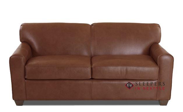 Savvy Zurich Leather Sleeper Sofa (Full) in Aspen Walnut