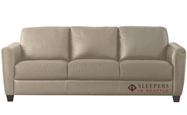 Natuzzi B592 Leather Sleeper in Le Mans Seashell (Queen)