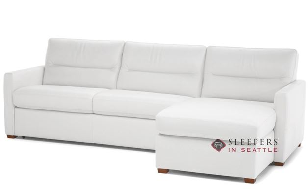 Natuzzi Editions Conca Chaise Sectional Leather Sleeper Sofa (Full) (C010-379/534) in Denver Antique White