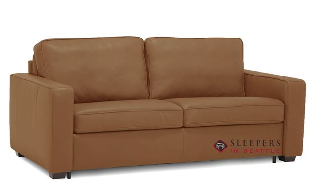 Palliser Kildonan CloudZ Full Top-Grain Leather Sleeper Sofa in Valencia Biscotti