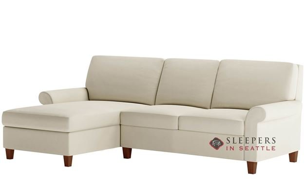 American Leather Gibbs Low Leg Leather Queen Plus with Chaise Comfort Sleeper