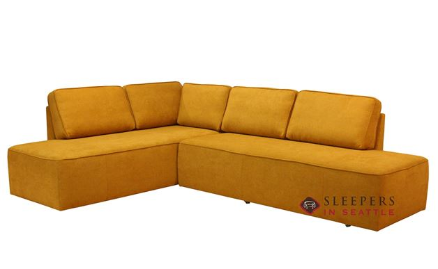 Luonto New York LAF Chaise Sectional Leather Queen Sleeper Sofa with Storage