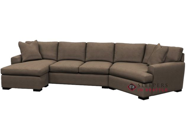 Stanton 390 Curved Sectional Queen Sleeper Sofa in Inheritance Latte LAF