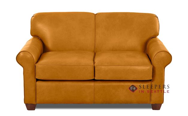 Calgary Leather Sleeper Sofa by Savvy (Twin) in Bowie Saffron