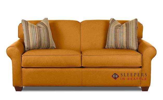 Savvy Calgary Leather Sleeper Sofa in Bowie Saffron (Full)