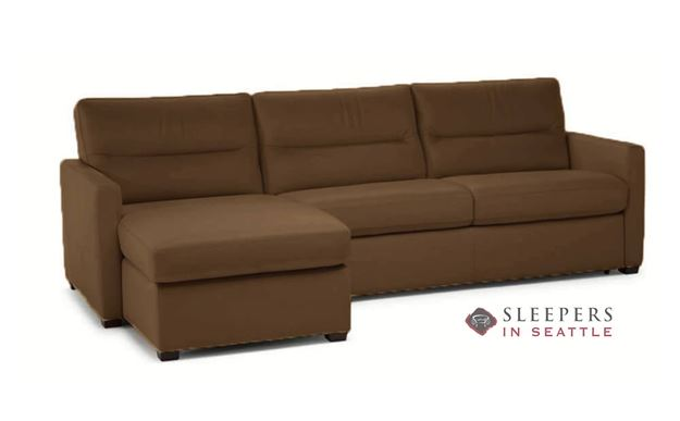 Natuzzi Editions Conca Chaise Sectional Leather Sleeper Sofa (Full) (C010-379/534) in Denver Brown