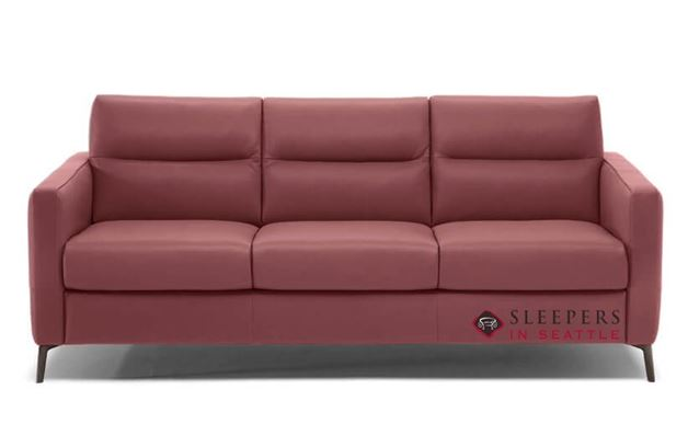 Natuzzi Editions Caffaro Leather Sleeper Sofa in Le Mans Bordeaux (Queen) (C008-266)