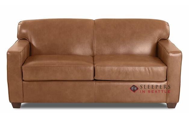 Savvy Geneva Leather Sleeper Sofa in Steamboat Chestnut (Full)