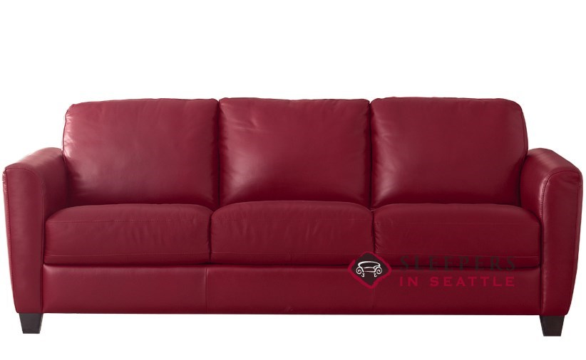 Natuzzi B592 Leather Sleeper In Denver Red Queen