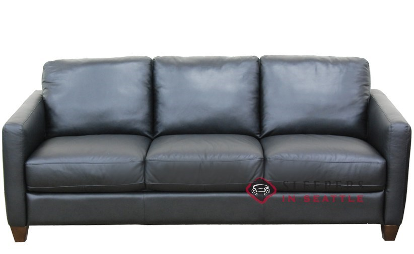 Natuzzi B591 Queen Leather Sleeper In Denver Black