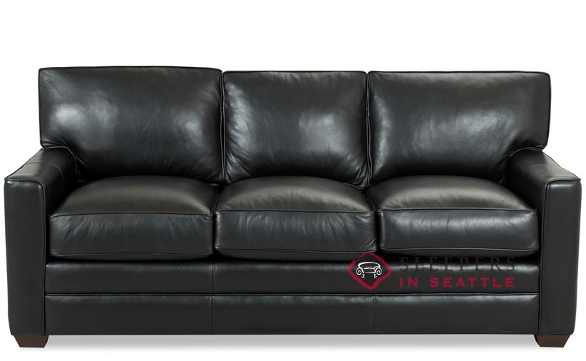 Savvy Palo Alto Leather Queen Sleeper Sofa with Optional Down-Blend Cushions