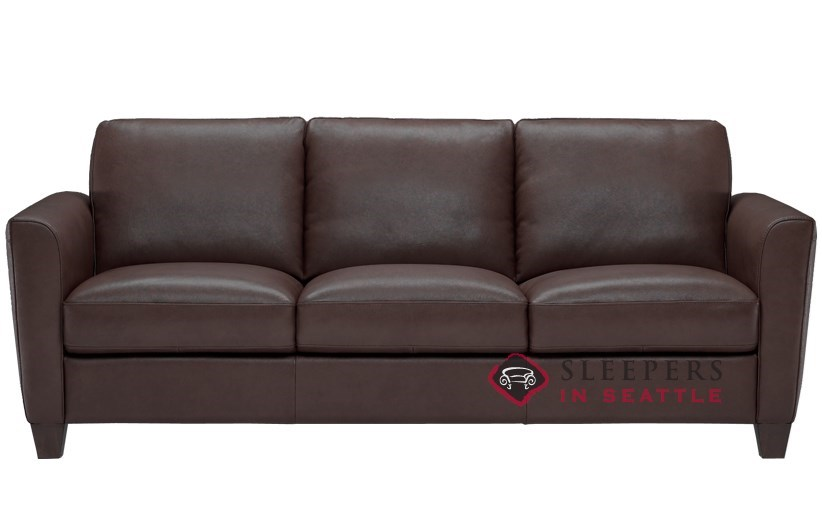 Natuzzi B592 Leather Sleeper In Denver Dark Brown Queen