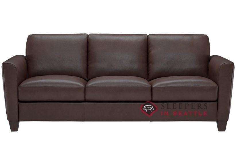 Natuzzi Editions Liro B592 Leather Sleeper Sofa in Denver Dark Brown