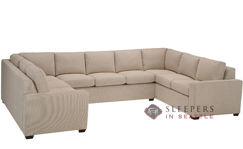 Lazar Industries Geo U-Shape True Sectional with 3-Cushion Earth Designs  Queen Sleeper Sofa