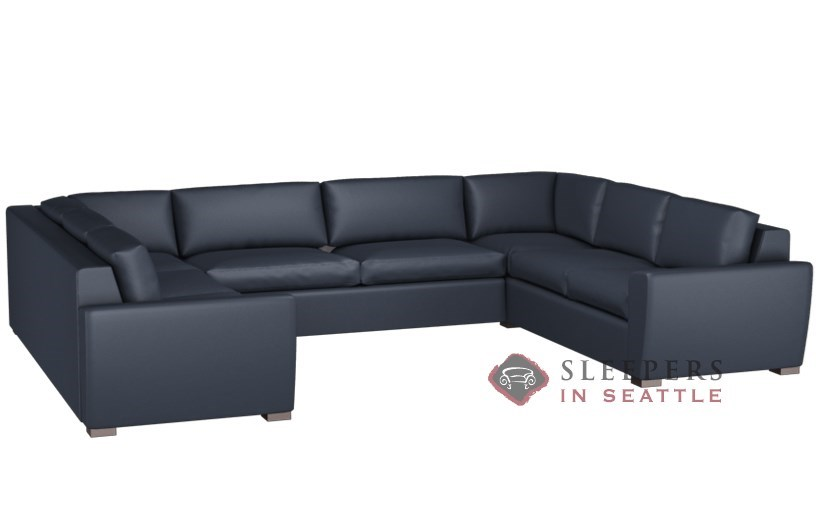 Lazar Geo Leather U Sectional 2 Cushion Condo Sleeper Queen