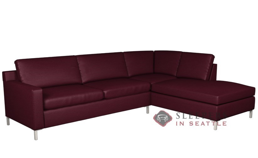 Lazar Industries Soho II Leather Loveseat Chaise Sectional with 2-Cushion  Queen Sleeper Sofa