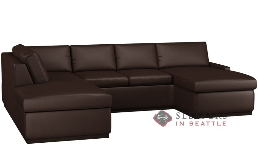 Terra Leather U-Shape Sectional with 2-Cushion Condo Queen Sleeper by Lazar Industries  sc 1 st  Sleepers In Seattle : queen sleeper sofa sectional - Sectionals, Sofas & Couches