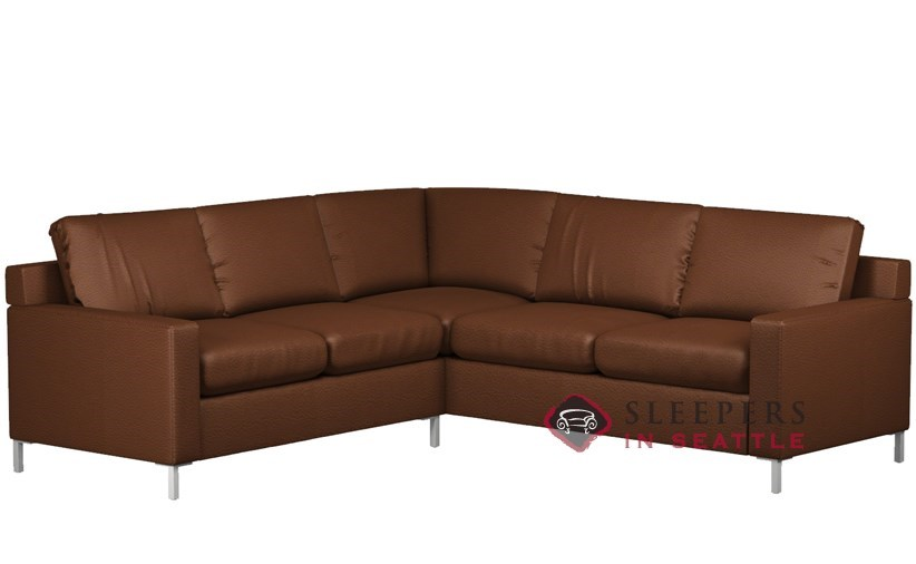 Lazar Soho II Leather True Sectional With 2 Cushion Sleeper (Queen)