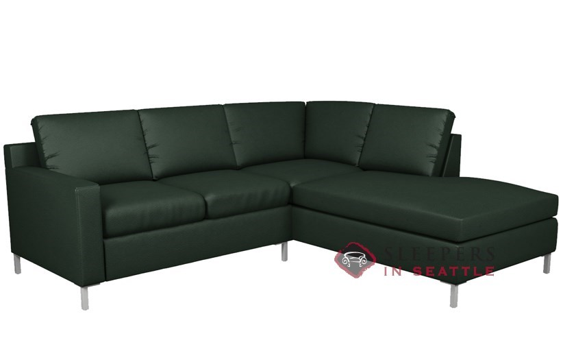 Lazar Soho Leather Loveseat Chaise Sectional With 2 Cushion Sleeper (Twin)