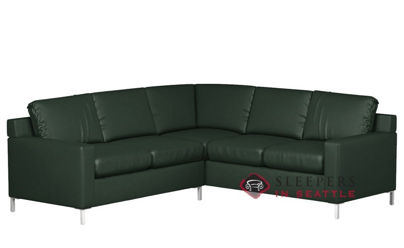 Lazar Soho Leather True Sectional With 2 Cushion Sleeper Twin