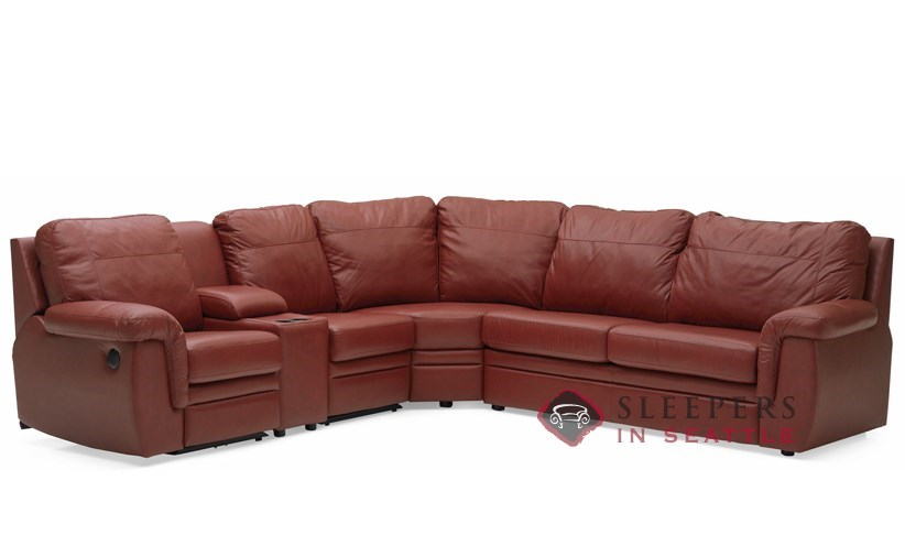 Palliser Brunswick Large Reclining True Sectional Top-Grain Leather Full  Sleeper Sofa with Console--Power Upgrade Available