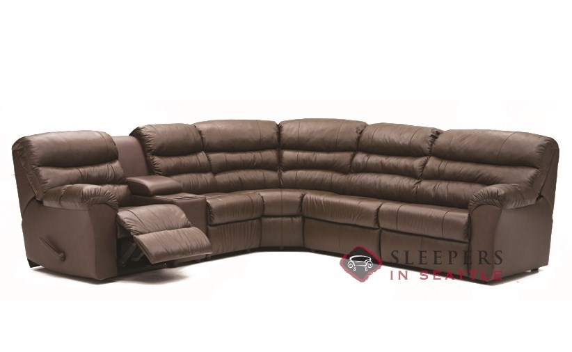 Palliser Durant Large Reclining True Sectional Top-Grain Leather Full  Sleeper Sofa with Console--Power Upgrade Available
