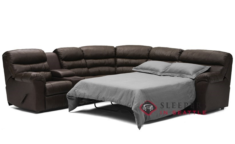 Durant Large Reclining True Sectional Leather Sleeper With Console Bed Extended