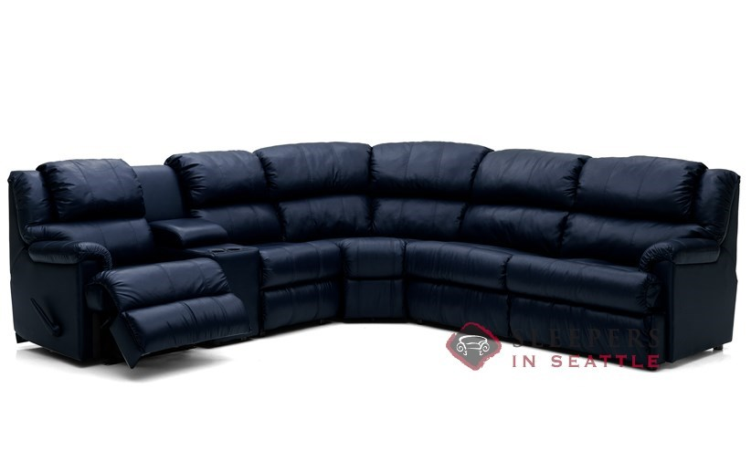 Harlow Large Reclining True Sectional Top-Grain Leather Full Sleeper Sofa  with Console by Palliser--Power Upgrade Available