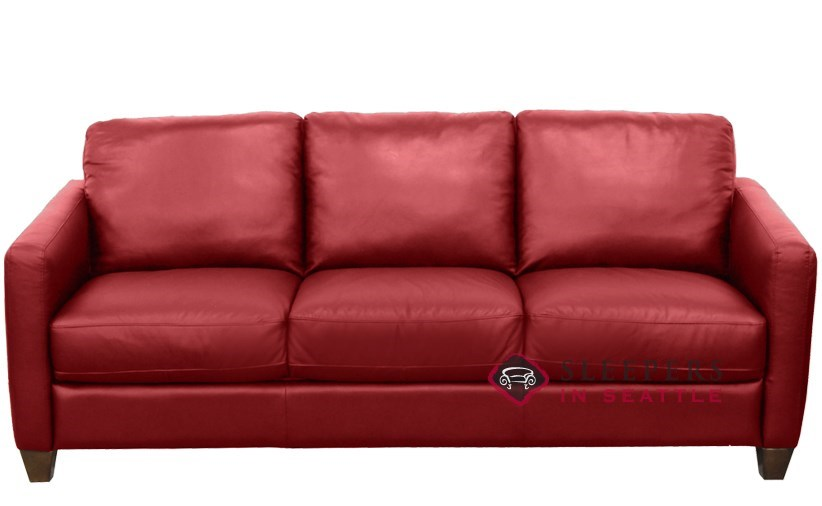 Natuzzi Editions Liri B591 Leather Sleeper Sofa in Belfast Red