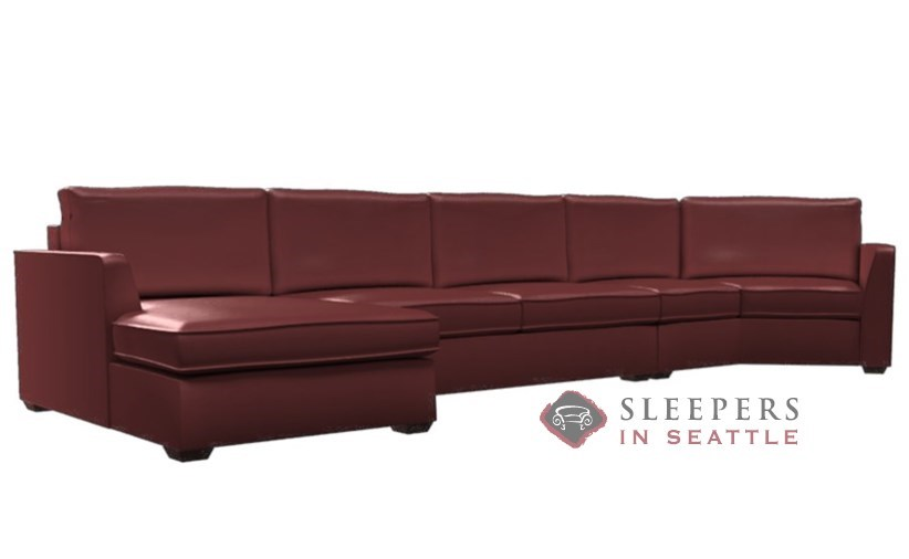 Lazar Industries Strata Leather Long Angled Chaise Sectional with 2-Cushion  Condo Earth Designs Queen Sleeper Sofa