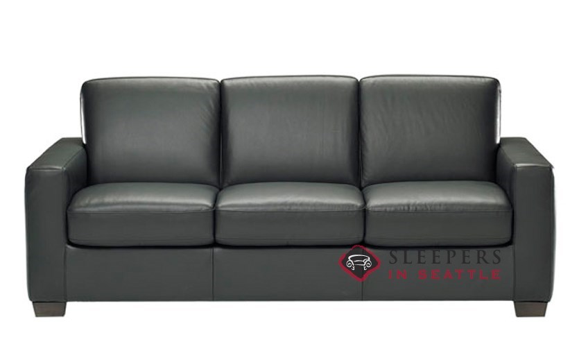 Natuzzi B534 Sleep Solutions Leather Sleeper In Belfast Black Queen
