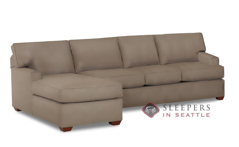 Savvy Palo Alto Chaise Sectional Leather Full Sleeper Sofa with Optional  Down-Blend Cushions