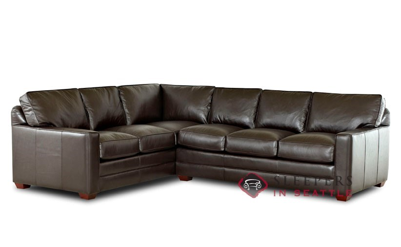 Savvy Palo Alto True Sectional Leather Full Sleeper Sofa with Optional  Down-Blend Cushions