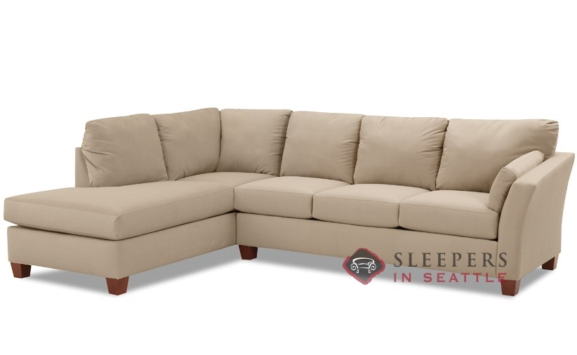 Savvy Sienna Chaise Sectional Sleeper In Microsuede Khaki Queen