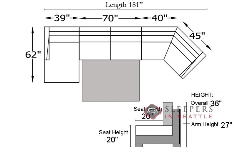... RAF Diagram Of Strata Long Angled Chaise Sectional With 2 Cushion Condo  Sleeper (Queen