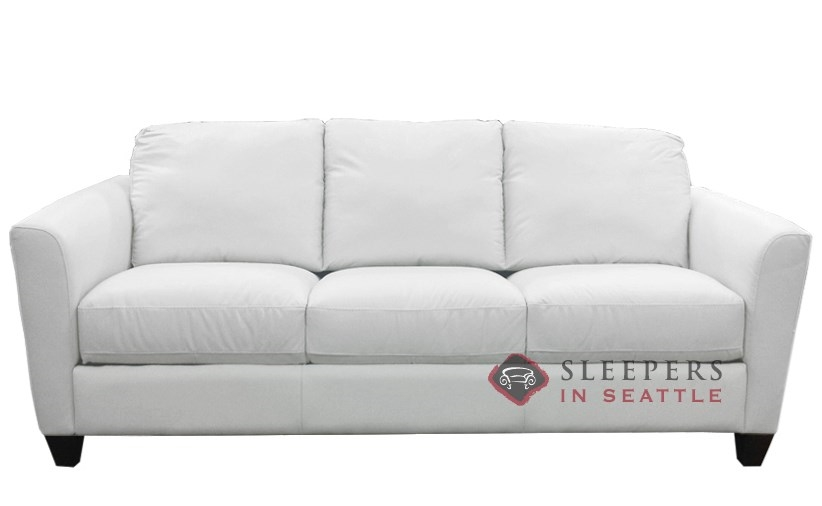Natuzzi B592 Leather Sleeper In Le Mans White Queen