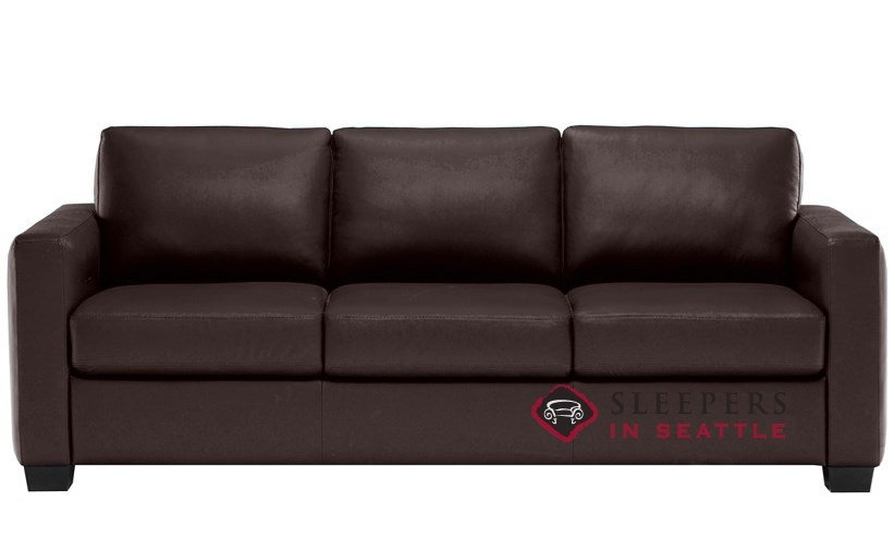 B735 008 Natuzzi Editions Roya Leather Sleeper Sofa In Denver Dark Brown Queen