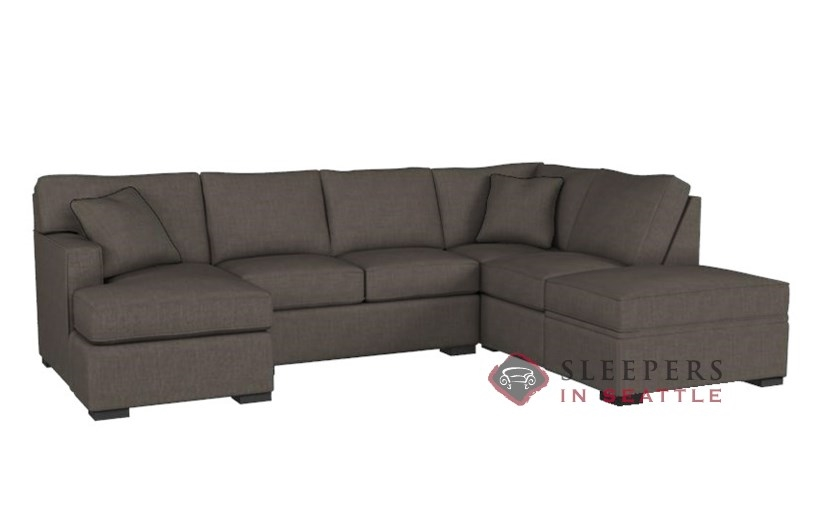 Stanton 146 Dual Chaise Sectional Sleeper Sofa With Storage In Bennett Bark Queen