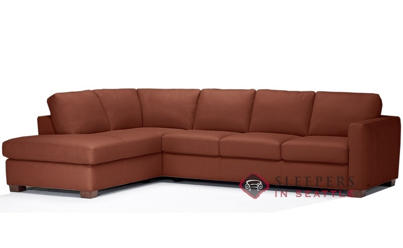Natuzzi Editions B735 Chaise Sectional Leather Sleeper In Matera Chesnut Queen
