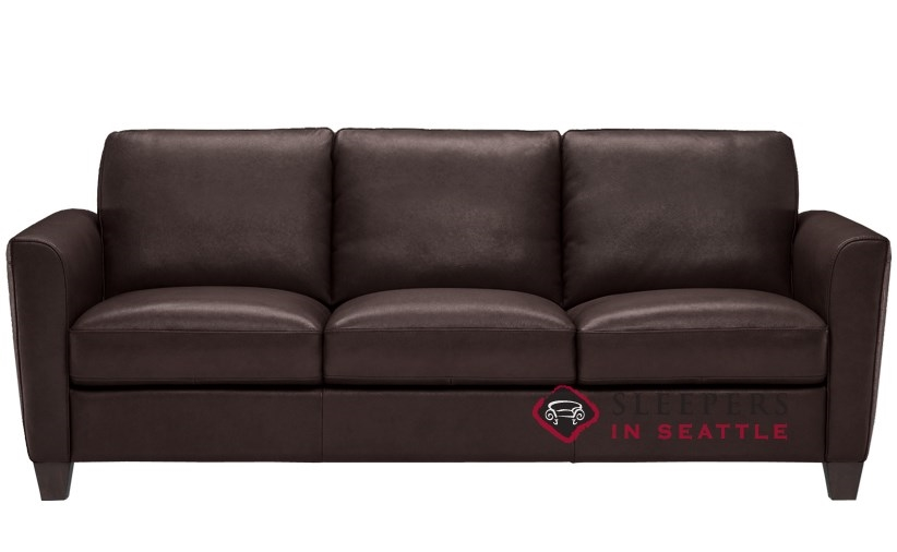 Natuzzi B592 Leather Sleeper In Matera Dark Brown (Queen)