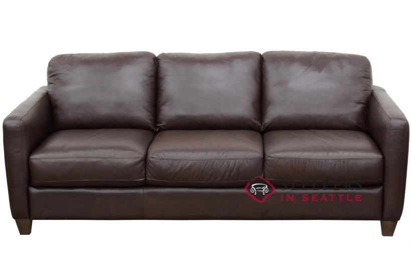 Natuzzi B591 Leather Sleeper In Phoenix Brown Queen