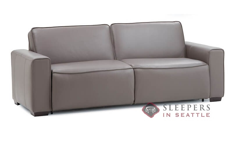 Palliser Lullaby My Comfort 2 Cushion Leather Sleeper Sofa (Queen) In  Venice Coal