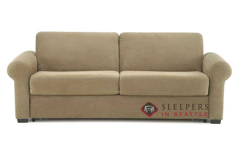 Superbe Palliser Sleepover My Comfort 2 Cushion Sleeper Sofa (Queen) In Echosuede  Cappuccino