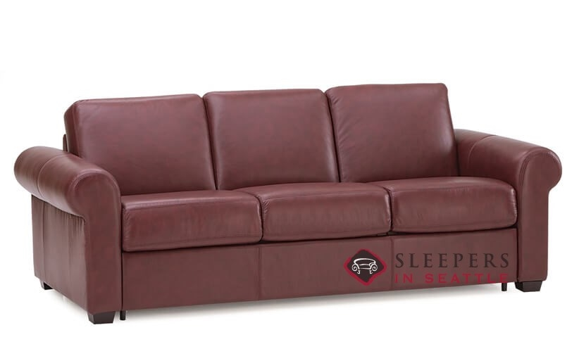 Palliser Sleepover My Comfort 3 Cushion Leather Sleeper Sofa (Queen) In  Carnival Claret